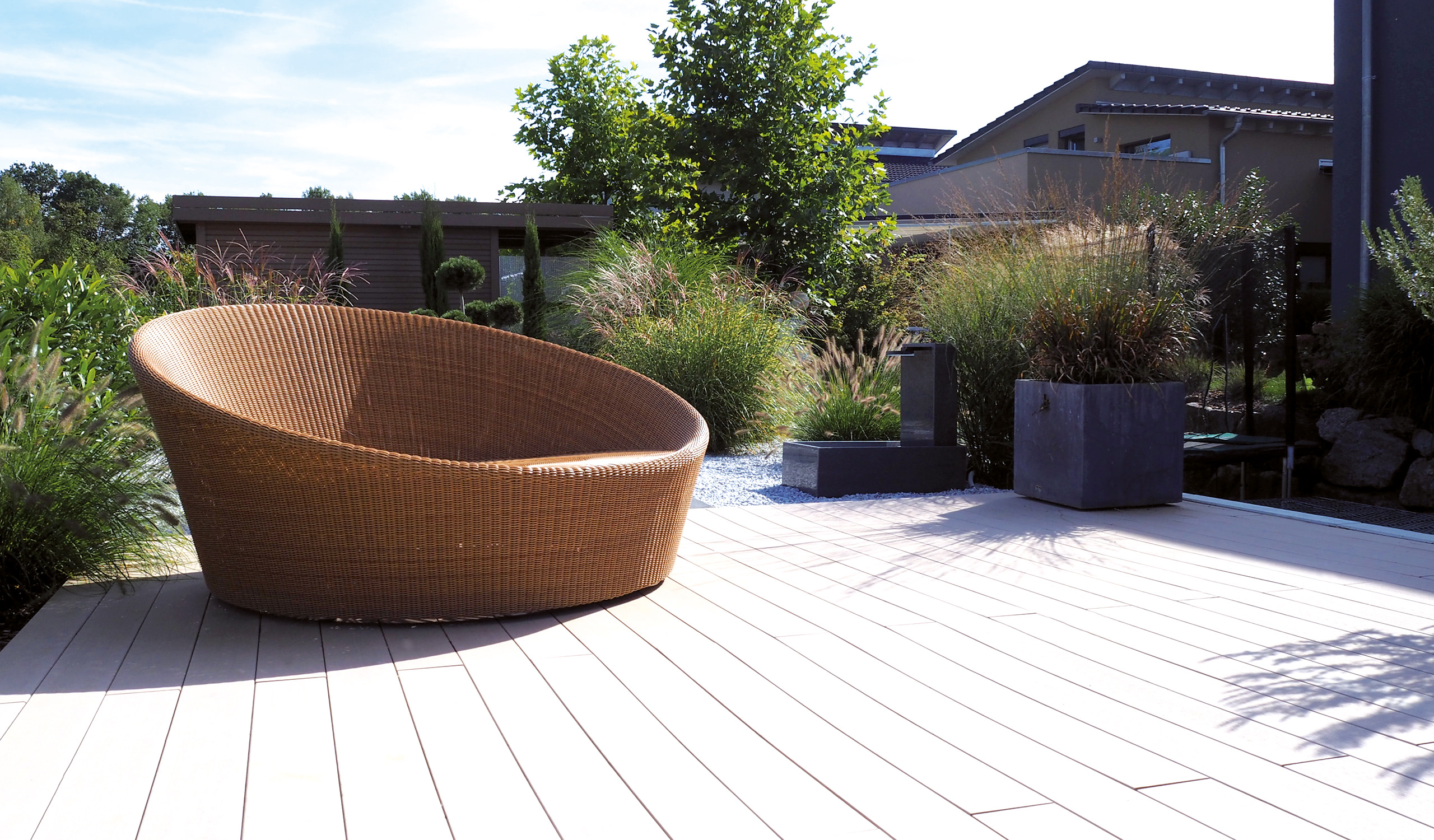 Outdoor terrace construction with verando floorboards.